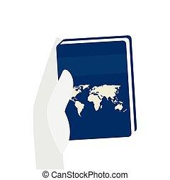 kéz, elszigetelt, ikon, könyv, atlasz, szöveg