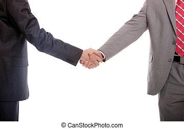 kéz, férfiak, ügy, ráz