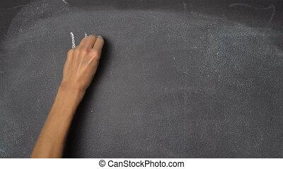"""kéz, fekete, chalkboard, """"happy, birthday"""", írás"""