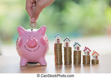kéz, feltétel, érme, bele, falánk part, takarékbetét pénz, to vásárol, egy, otthon, ingatlan tulajdon, vagy, otthon, megtakarítás, falánk part, érmek, és, egy, épület
