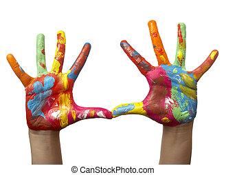 kéz, festett, gyermek, szín