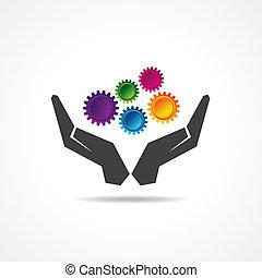 kéz, fogaskerék-áttétel, színes