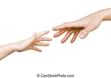 kéz, gyermekek, bábu, elér