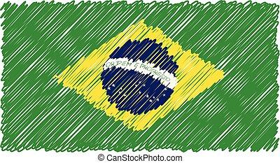 kéz, húzott, nemzeti lobogó, közül, brasil, elszigetelt, képben látható, egy, fehér, háttér., vektor, skicc, mód, illustration.