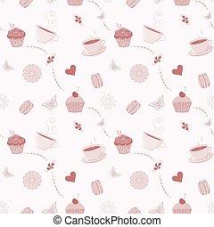 kéz, húzott, seamless, motívum, noha, cupcakes, macaroons, és, teacups