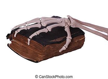 kéz, könyv, öreg, csontváz