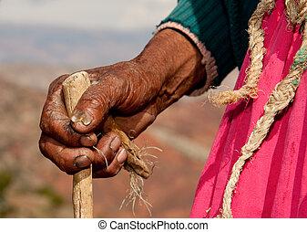 kéz, közül, öregasszony, alatt, dél-amerika, peru