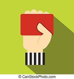 kéz, kiállítás, kártya, ikon, játékvezető, piros, futball