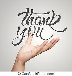 kéz, kiállítás, kéz, húzott, tervezés, szó, köszönjük, mint,...