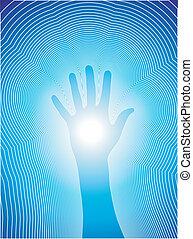 kéz, megvonalaz, gyógyulás, reiki