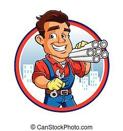 kéz, munkás, vízvezeték szerelő, kulcs
