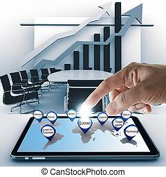 kéz, mutat, ügy, siker, ikon, noha, tabletta, számítógép
