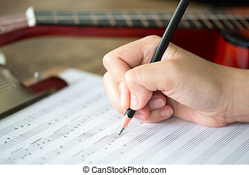 kéz, noha, ceruza, és, zene lap