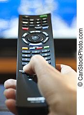 kéz, noha, televízió távoli ellenőrzés