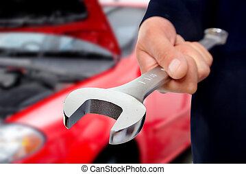 kéz, noha, wrench., autó, mechanic.