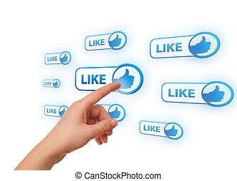 kéz, nyomás, hálózat, ikon, társadalmi