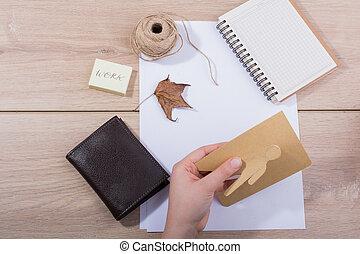 kéz, rajzóra szerszám, kellék, munka asztal