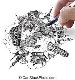 kéz, rajz, a, álmodik, utazás, világszerte