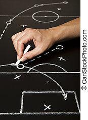 kéz, rajz, egy, futball játék, stratégia