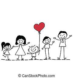 kéz, rajz, karikatúra, család, boldog