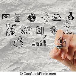 kéz, rajz, kreatív, ügy stratégia, képben látható, gyűrött újság, háttér, mint, fogalom