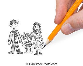 kéz, rajz, vidám család