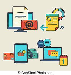 kéz, rajzol, szórakozottan firkálgat, alapismeretek, tervezés, ikonok, helyett, web., vektor, állhatatos, közül, ügy fogalom, -, online bevásárlás, oktatás, tanulás, hirdetés, kialakulás, híradástechnika