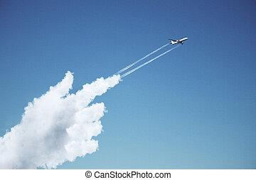 kéz, repülőgép, felhő, mutatóujj