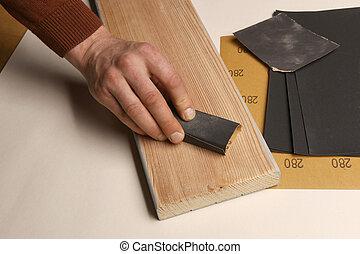 kéz, sandpaper., erdő, bizottság, használ, simítás, ember