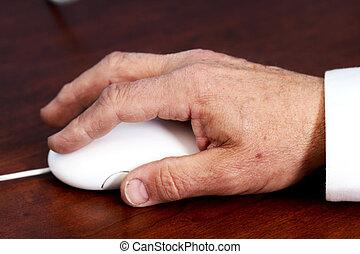 kéz, senior's, egér