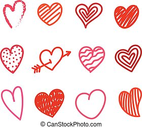 kéz, skicc, szín, mód, valentines, piros, húzott, nap, különböző, set., gyűjtés