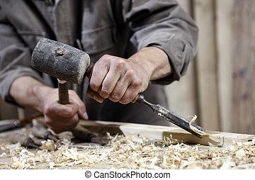 kézbesít, ács, kalapács, vés, munkapad, ácsmesterség