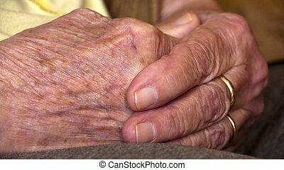 kézbesít, öreg, idősebb ember