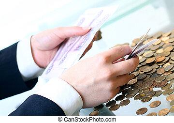 kézbesít, befolyás, pénz