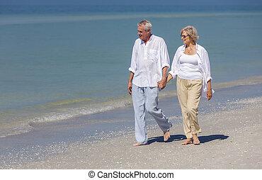 kézbesít, birtok, párosít, tengerpart, gyalogló, tropikus, boldog, idősebb ember