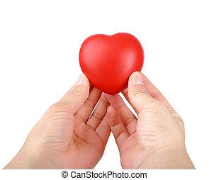 kézbesít, birtok, piros szív