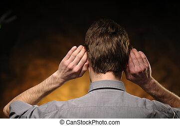 kézbesít, ember, fülek