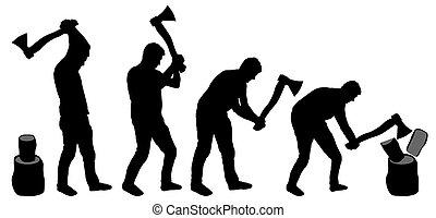 kézbesít, ember, vaskos, fa., darabol, árnykép, vektor, ...
