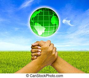kézbesít, fogalom, globe., két, összekapcsolt