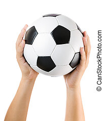 kézbesít, kitart futball labda, feláll