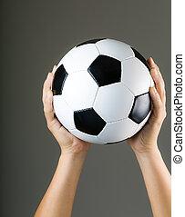 kézbesít, kitart futball labda