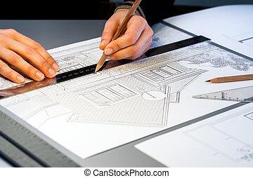 kézbesít, munka on, építészeti, documents.