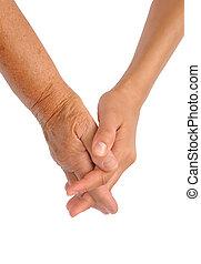 kézbesít, nők, fiatal, idősebb ember