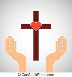 kézbesít, noha, kereszt, és, szent szív, ikon
