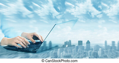 kézbesít, noha, laptop computer, keyboard.