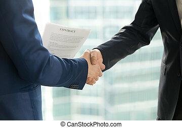kézfogás, összehúz, c-hang, remegő, hatalom kezezés, hím, businessmen