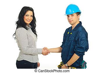 kézfogás, ügyfél, munkás, konstruktőr