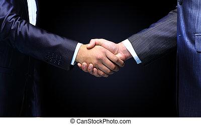 kézfogás, háttér, -, kéz, fekete, birtok