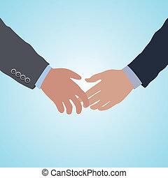 kézfogás, két, egyezmény, vektor, kézbesít, hajlandó