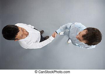 kézfogás, két, ember